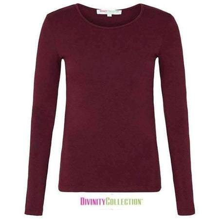 Maroon Long Sleeve Cotton Body Top - Divinity Collection