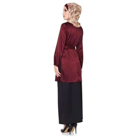 Maroon Satin Side Split Top - Divinity Collection