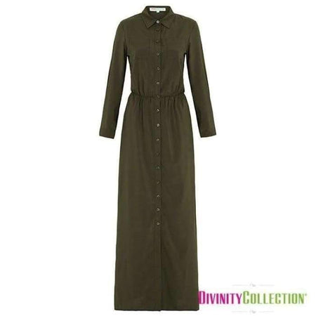 Maxi Shirt Dress- Olive - Divinity Collection