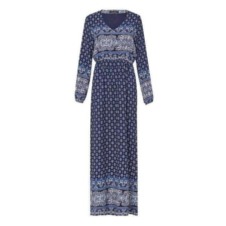 Navy and White Boho Crepe Dress - Divinity Collection