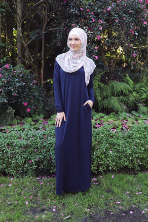 Navy Batwing Abaya Dress - Divinity Collection