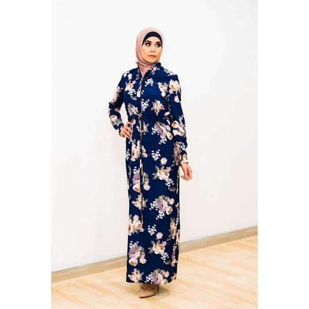 Navy Floral Drawstring Shirt Maxi Dress - Divinity Collection