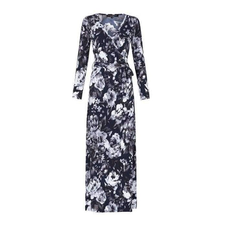 Navy White and Grey Digital Wrap Dress - Divinity Collection