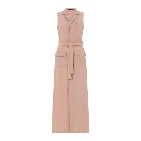Nude Sleeveless Long Coat - Divinity Collection
