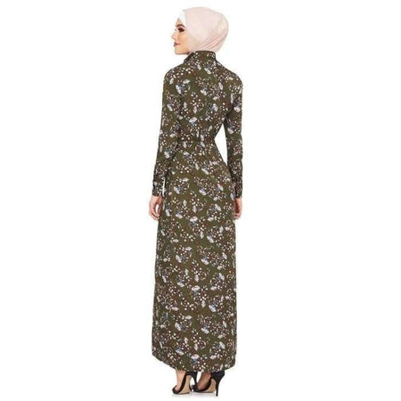 Olive Folk Floral Dress - Divinity Collection