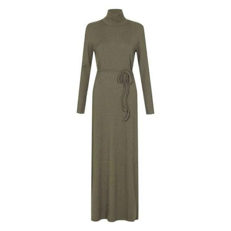 Olive Ribbed High Neck Maxi Dress - Divinity Collection