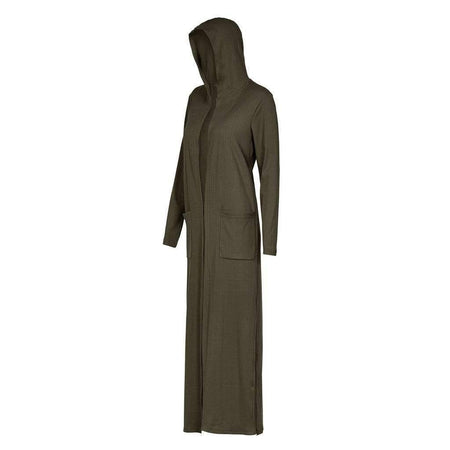 Olive Ribbed Hoody Maxi Cardigan - Divinity Collection
