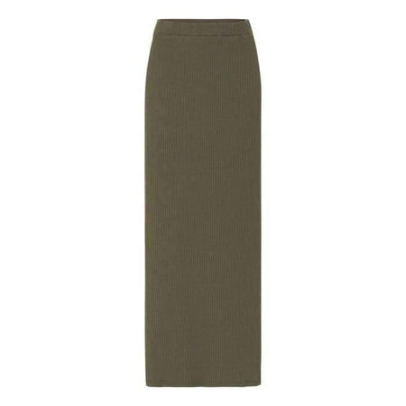 Olive Ribbed Stretch Pencil Skirt - Divinity Collection