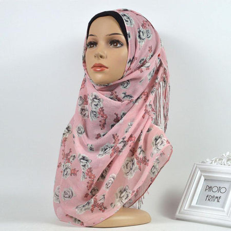 Pink Floral Cotton Hijab - Divinity Collection