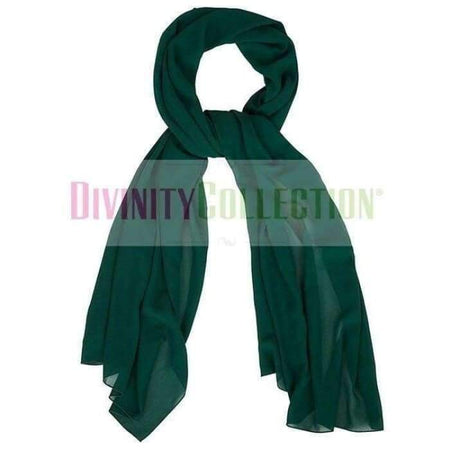 Plain Chiffon Dark Green Hijab - Divinity Collection