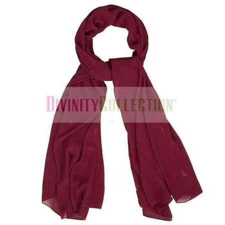 Plain Chiffon Dark Red Hijab - Divinity Collection