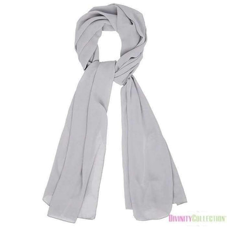 Plain Chiffon Light Grey Hijab - Divinity Collection