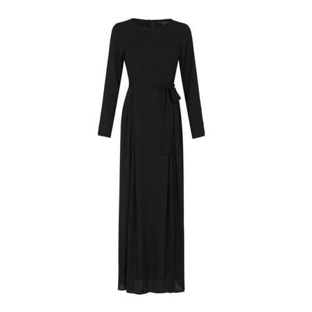 Pleated Black Crepe Dress - Divinity Collection