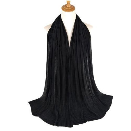 Pleated Jersey Maxi Hijab Scarf - Black - Divinity Collection