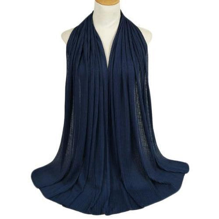 Pleated Jersey Maxi Hijab Scarf - Navy - Divinity Collection
