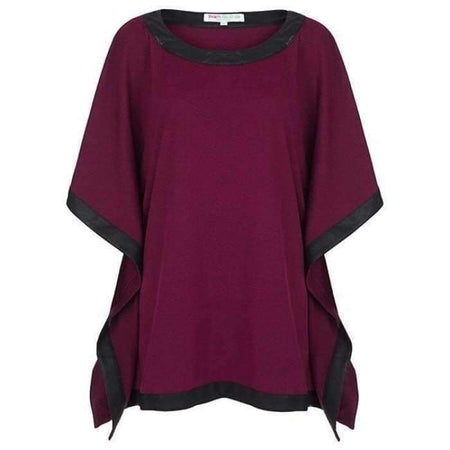 Poncho with Leather Trim - Magenta - Divinity Collection