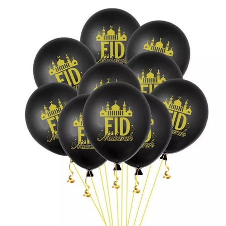 Printed Latex Balloons 'Eid Mubarak' - 12 pieces assorted - Divinity Collection