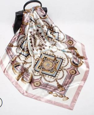 Royal Dusty Pink Tassel Square Satin Silky Scarf - Divinity Collection