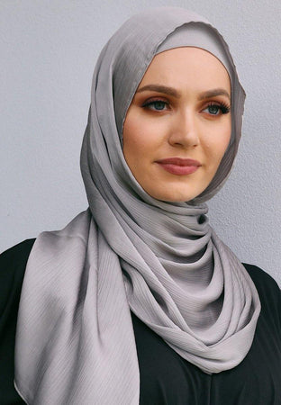 Silver Satin Hijab - Divinity Collection
