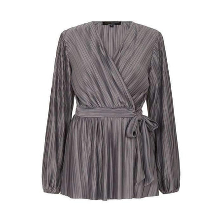 Silver Satin Pleated Wrap Top - Divinity Collection