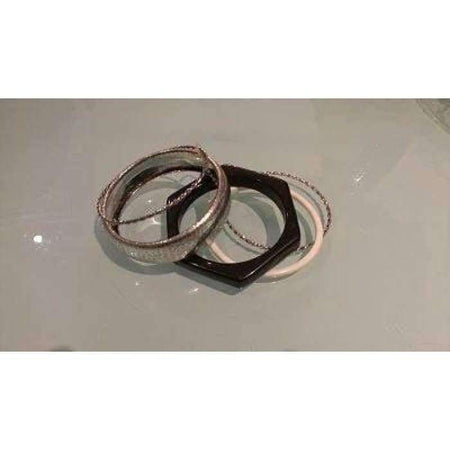 Silver, White and Black 5 Piece Bangle set - Divinity Collection