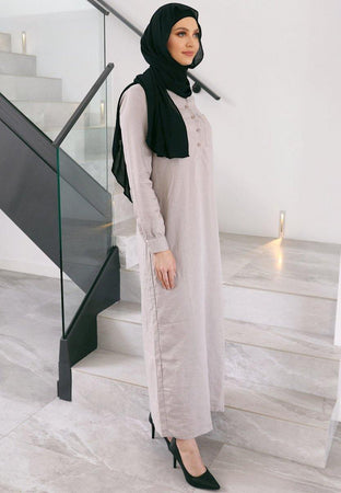 Stone Linen Abaya - Divinity Collection