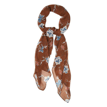 Tan Floral Plaid Hijab - Divinity Collection