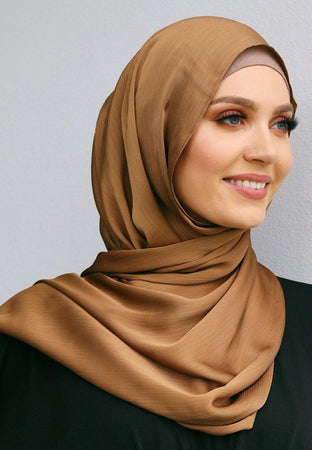 Tan Satin Hijab - Divinity Collection