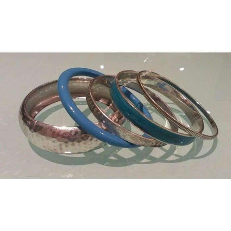 Turquoise and Silver 5pc Bangle Set - Divinity Collection