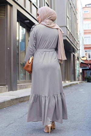 Warm Grey Frill Maxi Dress with Tie Waist - Divinity Collection