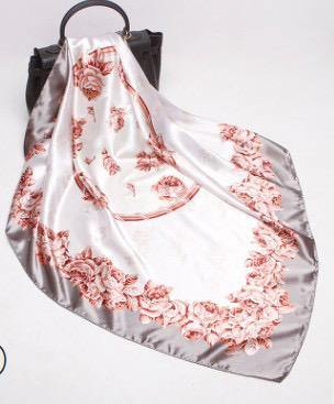 White and Grey Rose Square Satin Silky Scarf - Divinity Collection