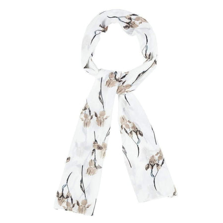 White and Mocha Large Floral Hijab - Divinity Collection