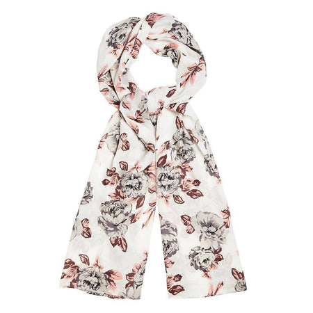 White and Pink Large Floral Hijab - Divinity Collection