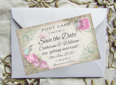 005 Butterfly Pink Flowers Save the Date Magnet