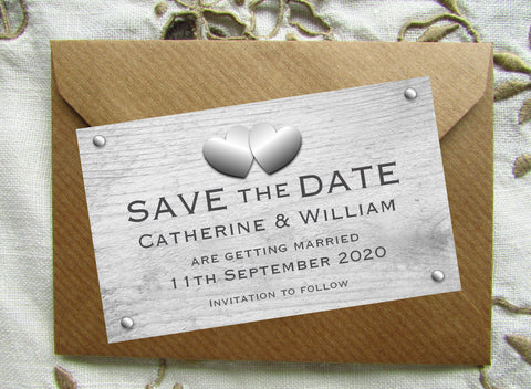 009 Rustic Hearts Save the Date Magnet