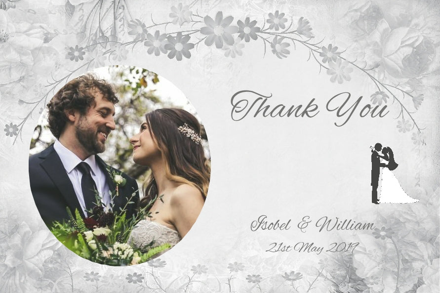 002 Flower Silhouette Photo Thank You Cards