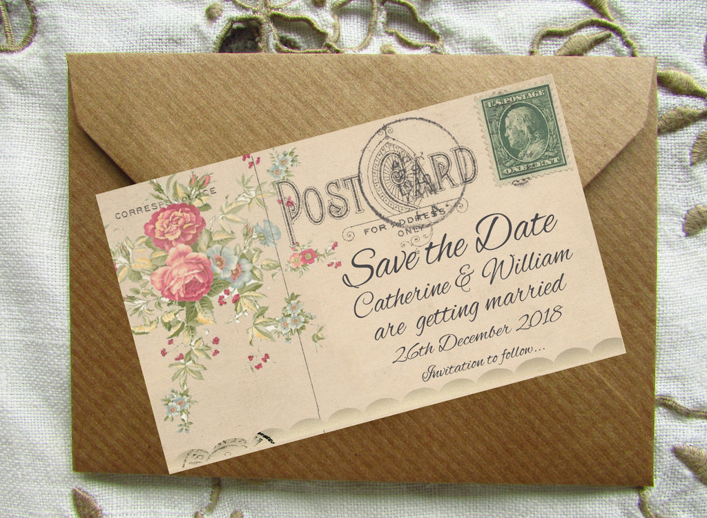 010 Flower Postcard Save the Date Magnet
