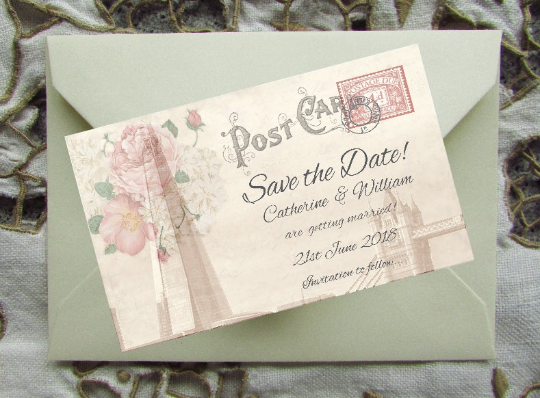 049 London Post Card Save the Date Magnet