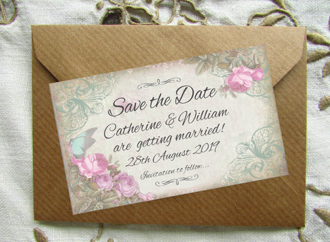054 Pink Flower Butterfly Save the Date Magnet