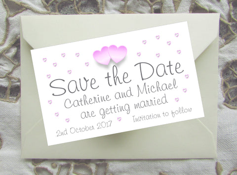 055 Pink Hearts Save the Date Magnet