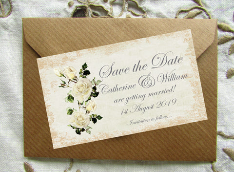 068 Rose Shabby Save the Date Magnet