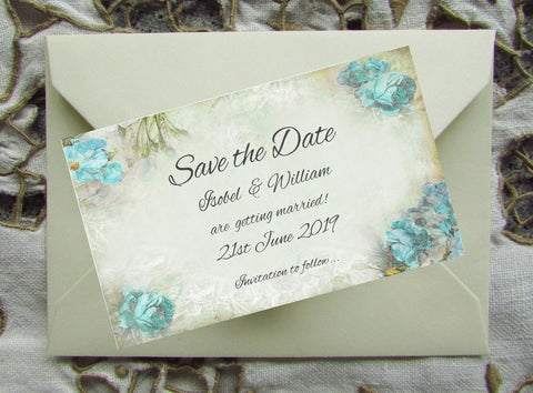 074 Blue Corners Save the Date Magnet