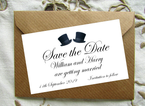081 Top Hats Save the Date Magnet