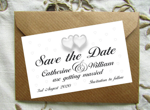 083 Traditional Hearts Save the Date Magnet
