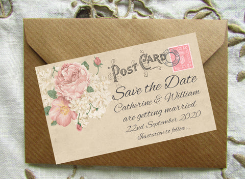 014 Vintage Postcard Save the Date Magnet