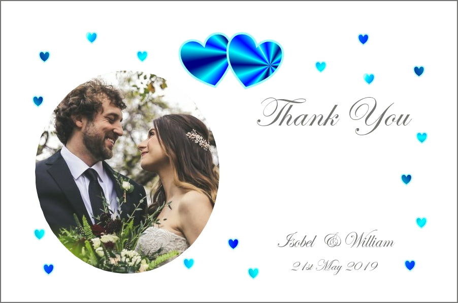 008 Blue Hearts Photo Thank You Cards