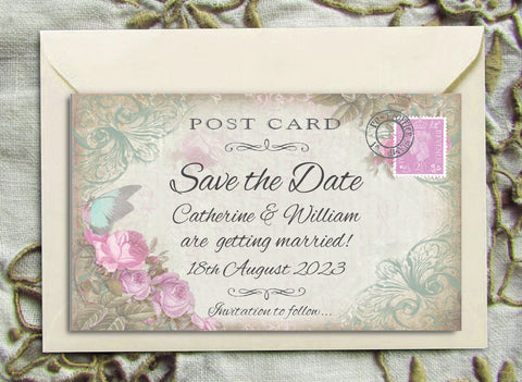 062 Butterfly Pink Flowers Save the Date Magnet