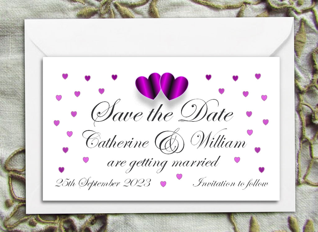 061 Purple Hearts Save the Date Magnet