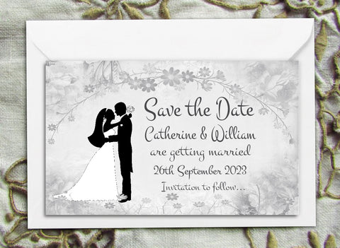 002 Flower Silhouette Save the Date Magnet