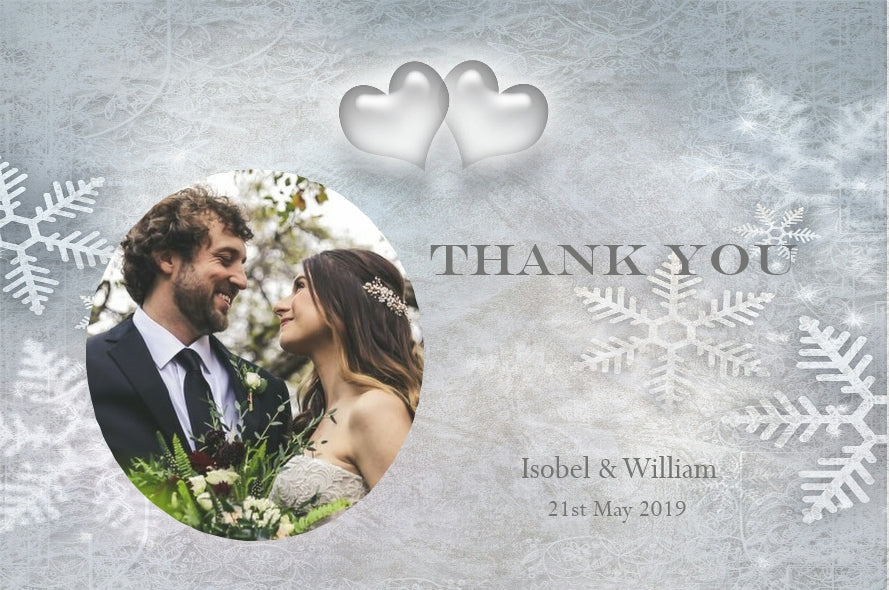 012 Snowflake Hearts Photo Thank You Cards